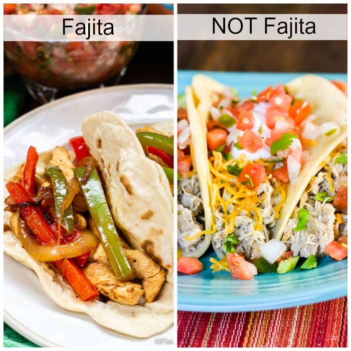 Photo on left of chicken fajita and photo on right shows a shredded chicken taco.