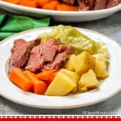 Instant Pot Corned Beef and Cabbage Pin 1 Photo Red Label Bottom - Flavor Mosaic