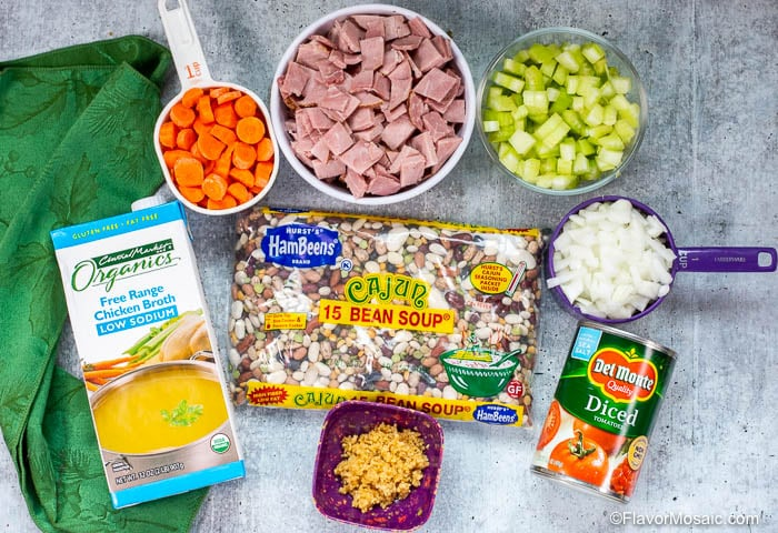 Ingredients for Instant Pot Ham and Bean Soup