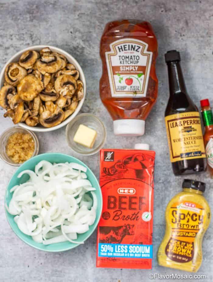 Ingredients for Onion And Mushroom Gravy For Salisbury steak