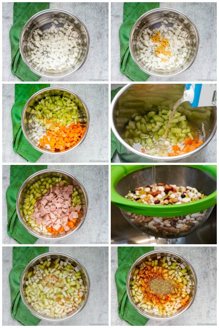 Step By Step Photos How To Make Instant Pot Ham and Bean Soup