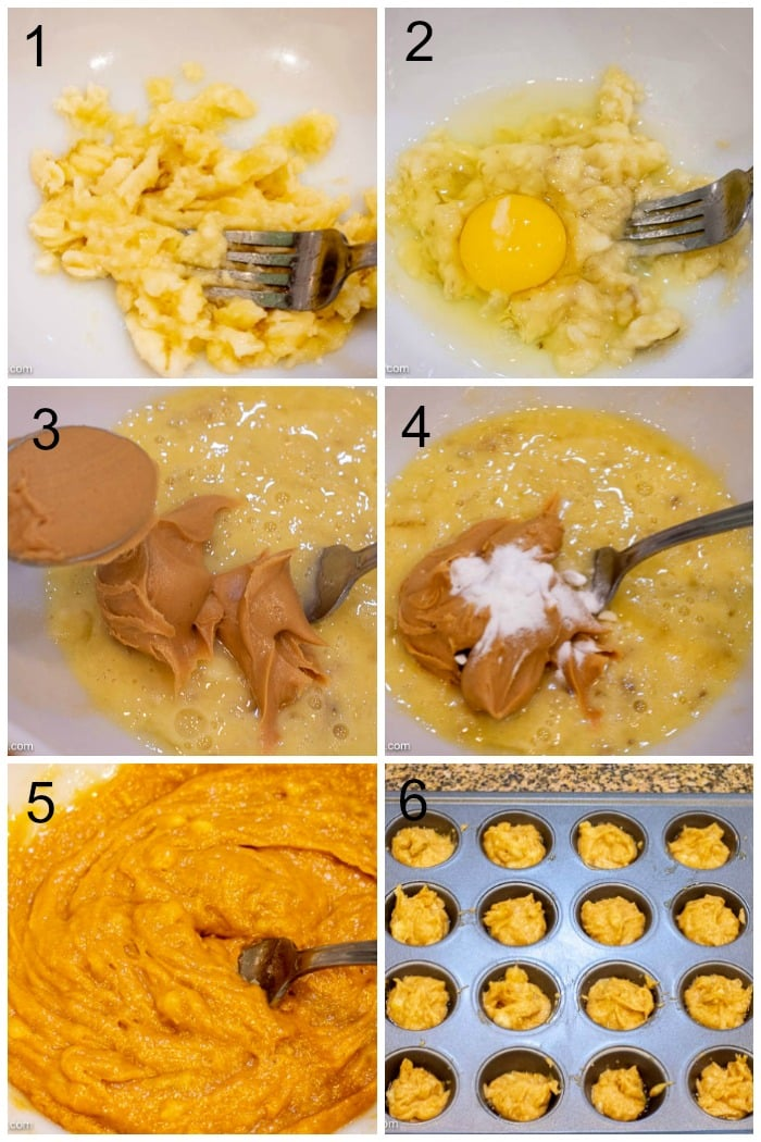 Step By Step Photos of How To Make Peanut Butter Banana Pupcakes