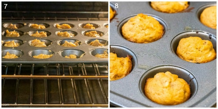 Steps 7 and 8 of How To Make Peanut Butter Banana Pupcakes recipe