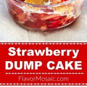 Strawberry Dump Cake Long Pin 3 Ingredients - Flavor Mosaic