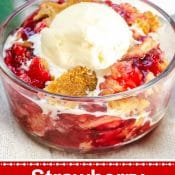 Pin for Strawberry Dump Cake - Red Label white text - Flavor Mosaic