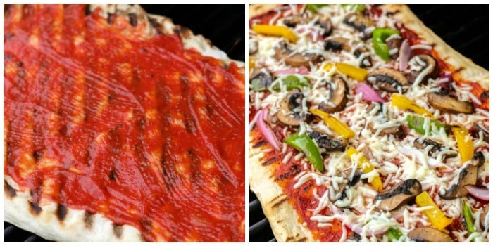 2-photo collage of grilled pizza. On left crust with sauce. On right Toppings have been added.