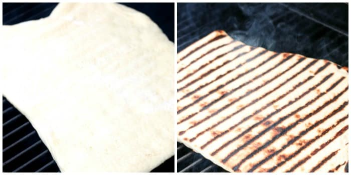 2 photos of pizza crust on grill. On left is raw crust just put on grill. 2nd is crust with grill marks sitting on grill.