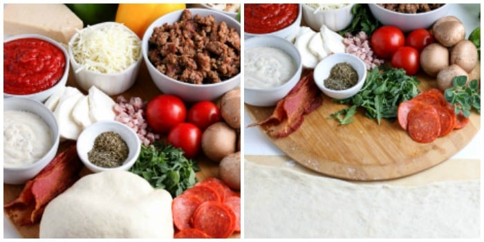 2 photos of grilled pizza ingredients. First with ball of dough and 2nd with dough rolled out flat.
