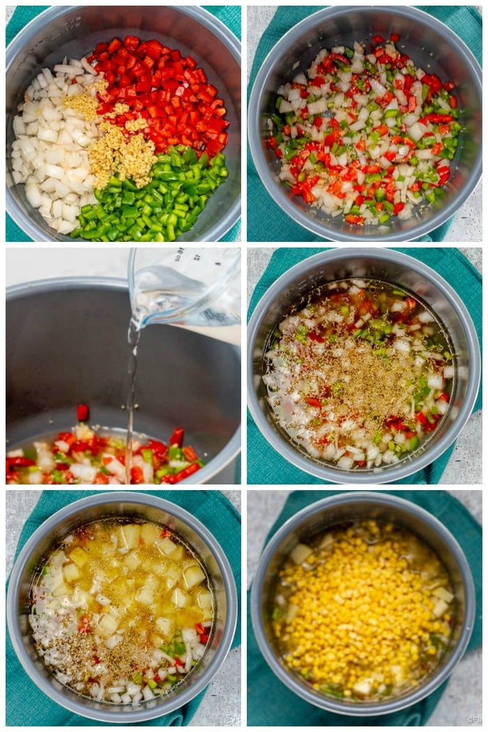Instant Pot Corn Chowder step by step how to make collage pin