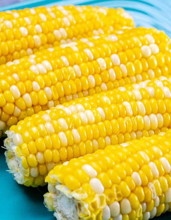 Instant Pot Corn On The Cob on blue plate