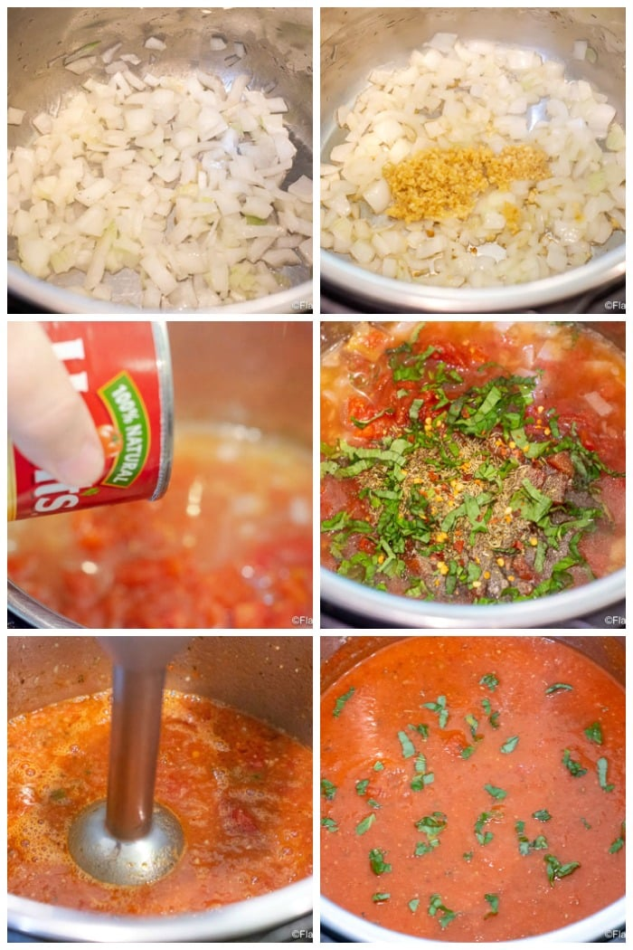 Step by Step Process Photo Collage for how to make Instant Pot Marinara Sauce - Spaghetti Sauce