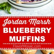 Jordan Marsh Blueberry Muffins 2-Photo red label long pin Flavor Mosaic