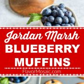 Jordan Marsh Blueberry Muffins 2-photo red label long pin 2 Flavor Mosaic