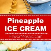 Pineapple Ice Cream 2-photo red label Long Pin 5 Flavor Mosaic