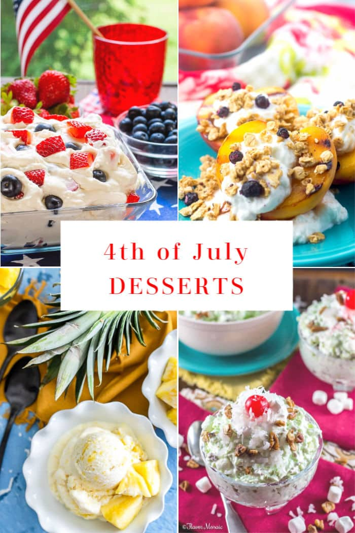 4-Photo Picture Collage of 4th of July Dessert Recipes
