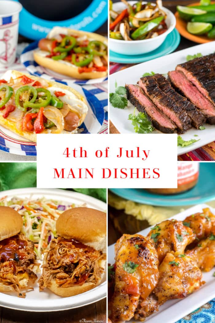 4-Photo Picture Collage of 4th of July Main Dish recipes.