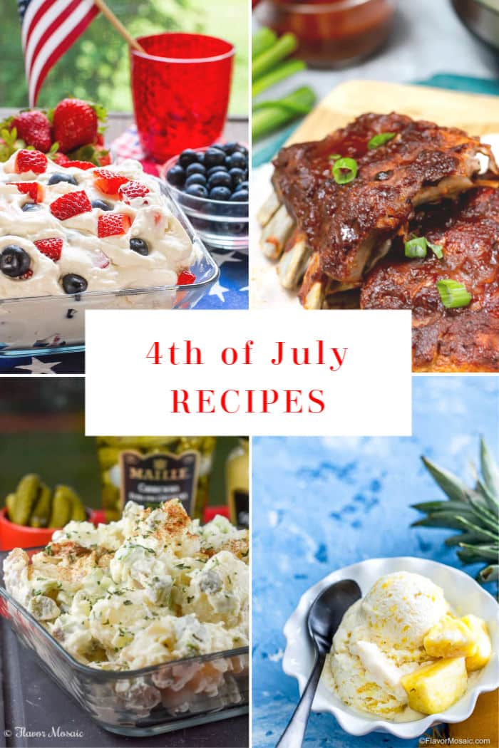 4 Recipe photo collage for 4th of July Recipes