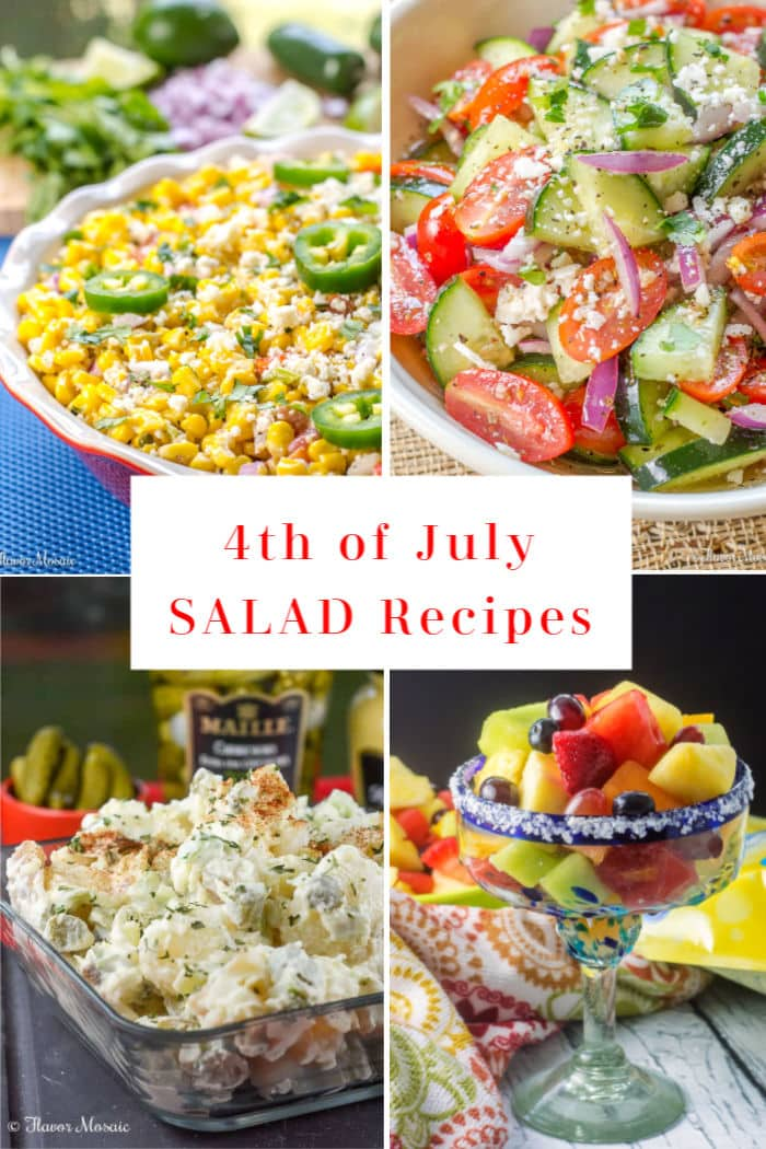 4-Photo picture collage of 4th of July Salad Recipes