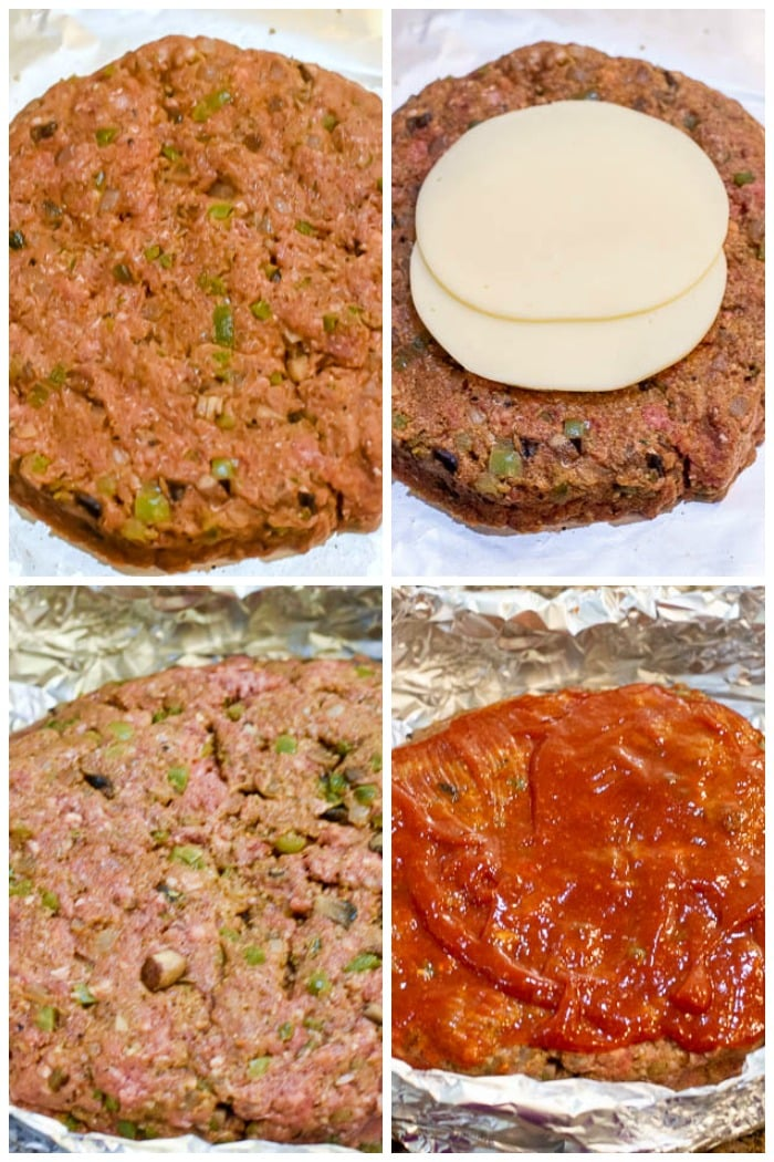 4-photo collage of assembling meatloaf layers for Instant Pot Philly Cheesesteak Meatloaf
