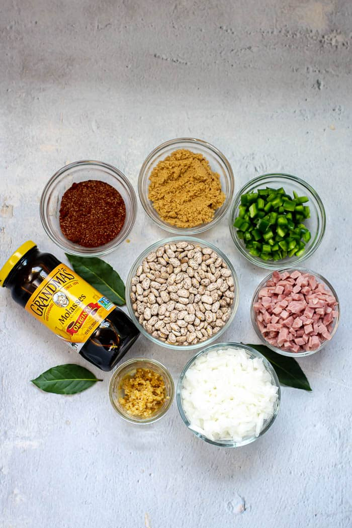 Overhead view of major ingredients in Instant Pot Baked Beans, including jar of molasses.