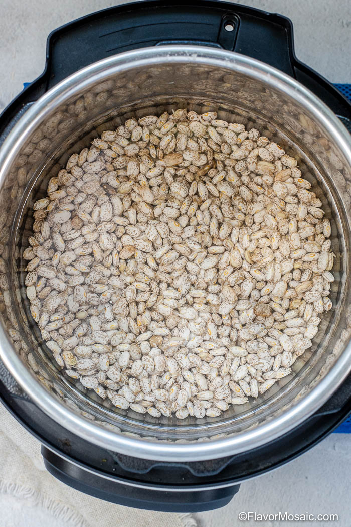 Overhead view of water and pinto beans inside an Instant Pot.