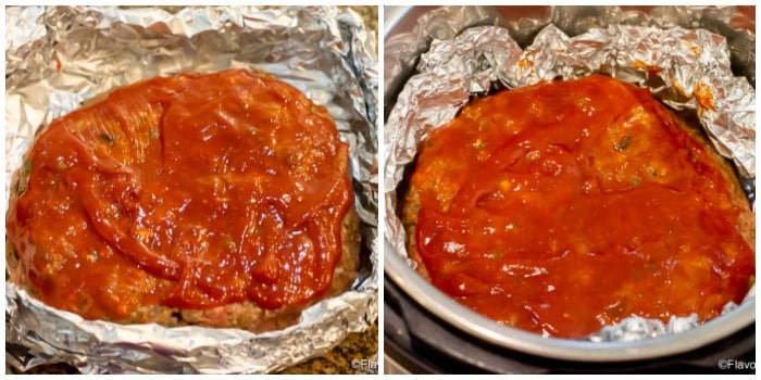 Instant Pot Philly cheesesteak Meatloaf in foil before & after Instant Pot