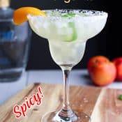Side photo of spicy peach margarita with title Peach Margarita.
