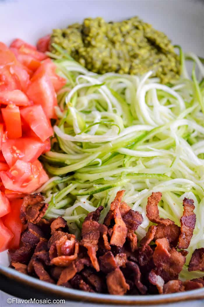 Ingredients for Zucchini Noodles with Pesto and Bacon