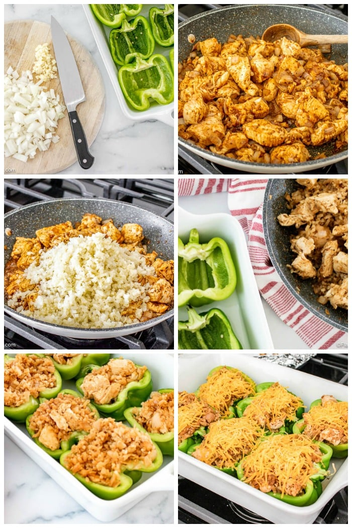 How To Make Chicken Fajita Stuffed Peppers Step By Step Photo Collage