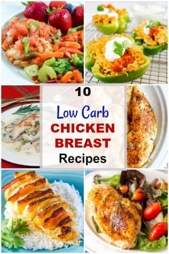 Photo collage of chicken breast recipes with white label with title low carb chicken breast recipes