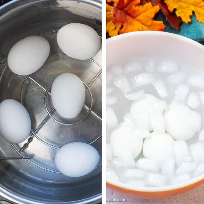 Hard Boiled Eggs Process Photos for Spinach Salad with Bacon Dressing