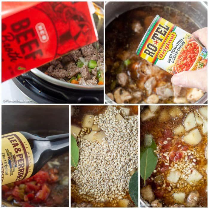 4-Photo Photo Collage showing adding remaining ingredients into the pressure cooker for Instant Pot Beef And Barley Soup