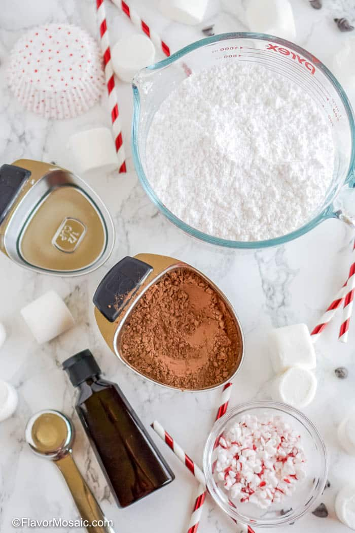 Overhead view of additional ingredients for Hot Chocolate Cupcakes