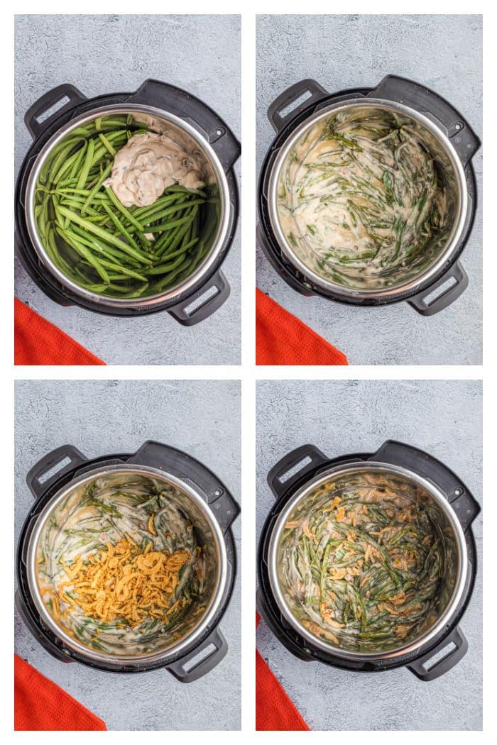 Instant Pot Green Bean Casserole Process Photos in the Instant Pot