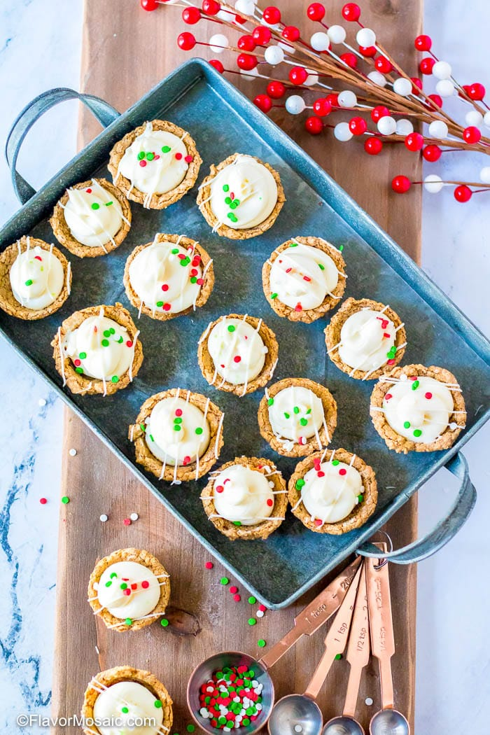 Overhead view of Mini Gingerbread Cheesecakes Cups