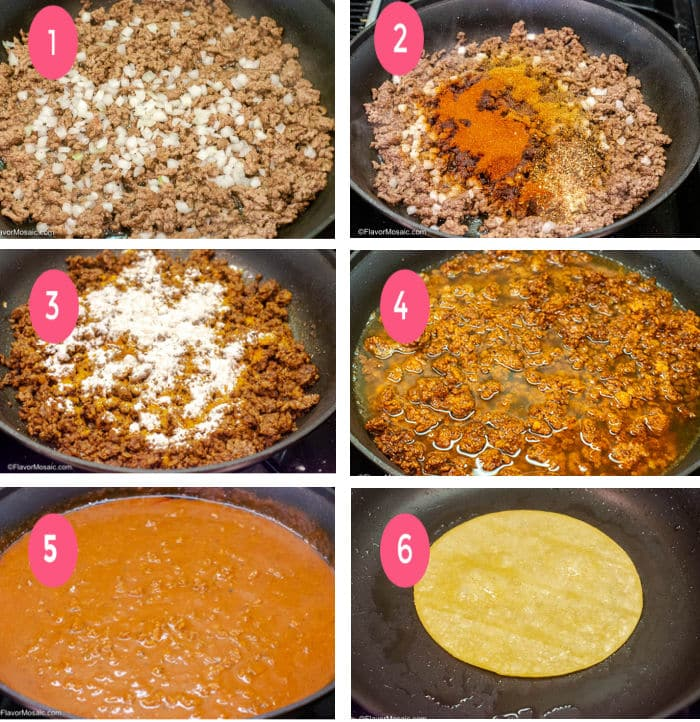 Step By Step Process Photo Tex Mex Chili Gravy Enchilada Sauce for Tex Mex Enchiladas