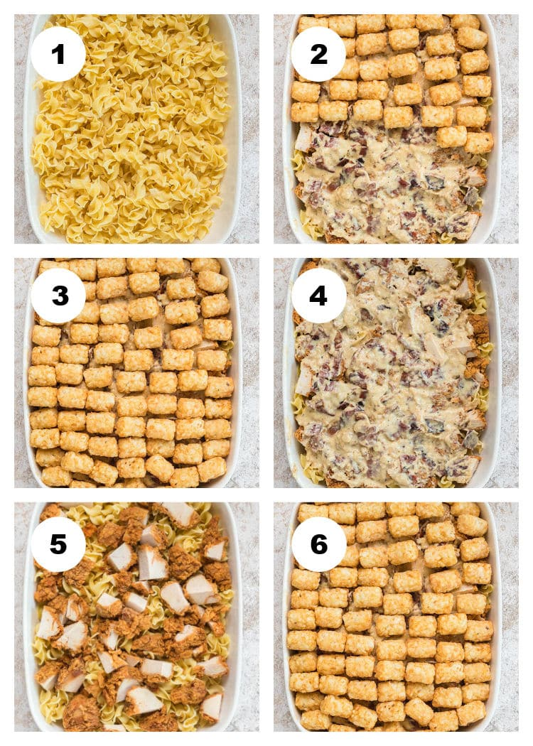 6-step photo collage of how to assemble the Chicken Bacon Ranch Tater Tot Casserole