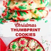 2-Photo Pin with side view of stack of Christmas cookies and the bottom photo is an overhead view of a platter of Christmas cookies.
