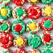 platter of colorful Christmas Shortbread Thumbprint Cookies