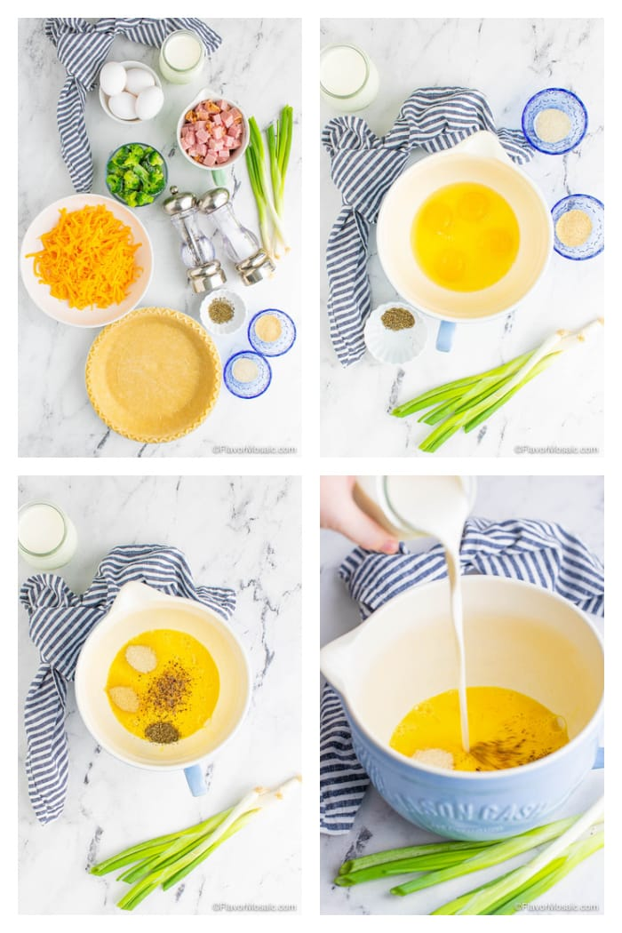 Photo collage with 4 photos of ingredients and first steps of making ham and broccoli quiche.