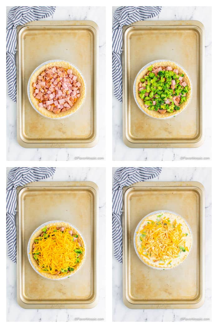 Photo collage showing steps of how to assemble the ham and broccoli quiche.