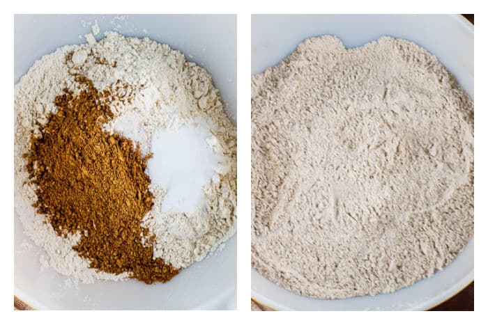 Molasses Crinkle Cookies Mix Dry Ingredients in white bowl Photo Collage
