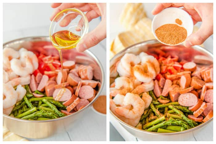 Photo collage of seasoning the shrimpmp.