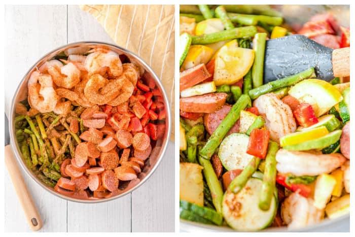 Cajun Shrimp and Sausage Sheet Pan Dinner - Process Shot