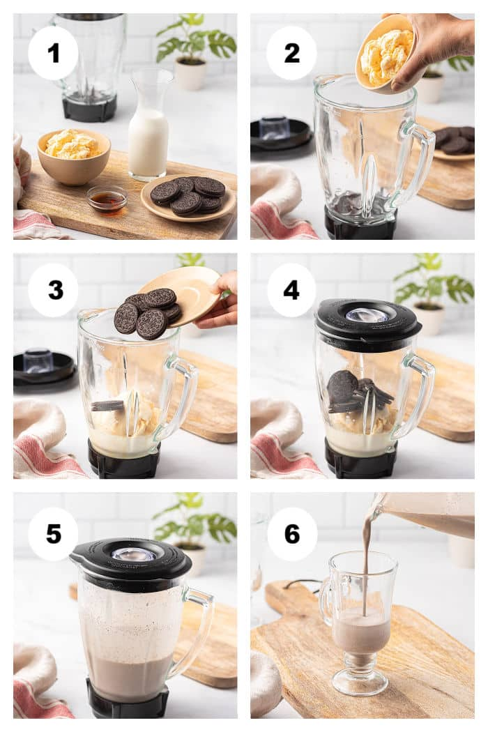 Photo collage of 6 photos showing the steps of how to make an Oreo milkshake.