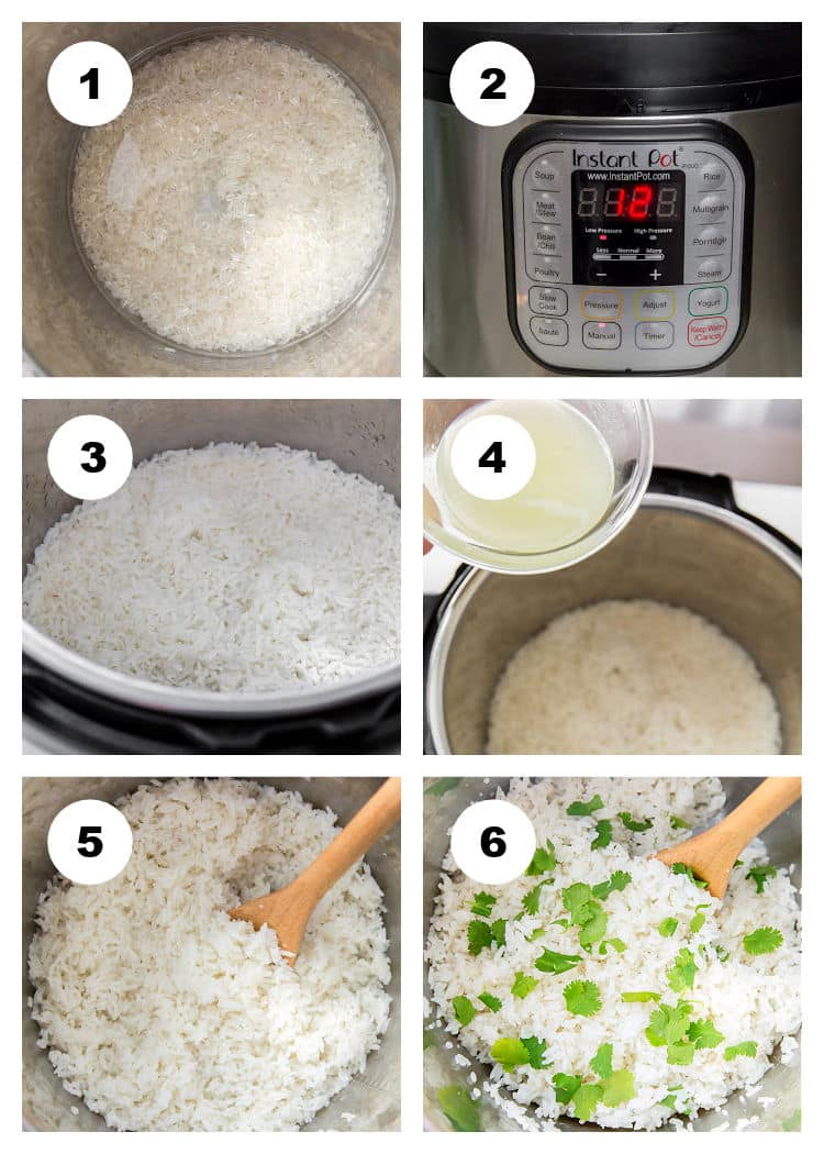 Instant Pot Cilantro Lime Rice Step by Step Process Photo Collage v2