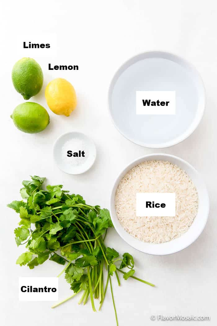 Overhead view of ingredients on white background for Cilantro Lime Rice Recipe