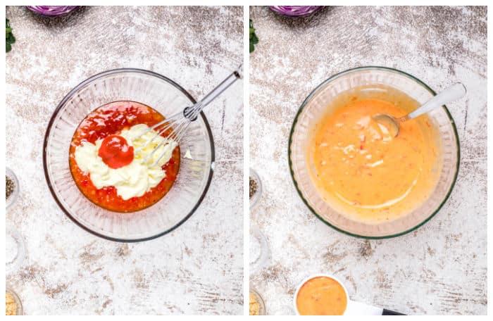 Step by Step Photo Collage of How To Make Bang Bang Sauce
