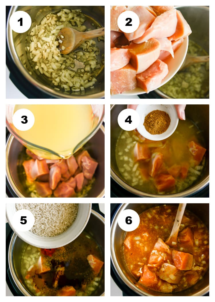 Instant Pot Chicken and Rice Step by Step Process Photo Collage
