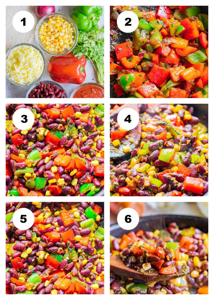 6-photo photo collage of ingredients and first steps to make Vegetarian Enchilada Casserole